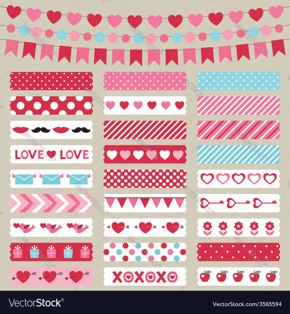 Valentines day decoration and washi tapes vector | Price: 1 Credit (USD $1)