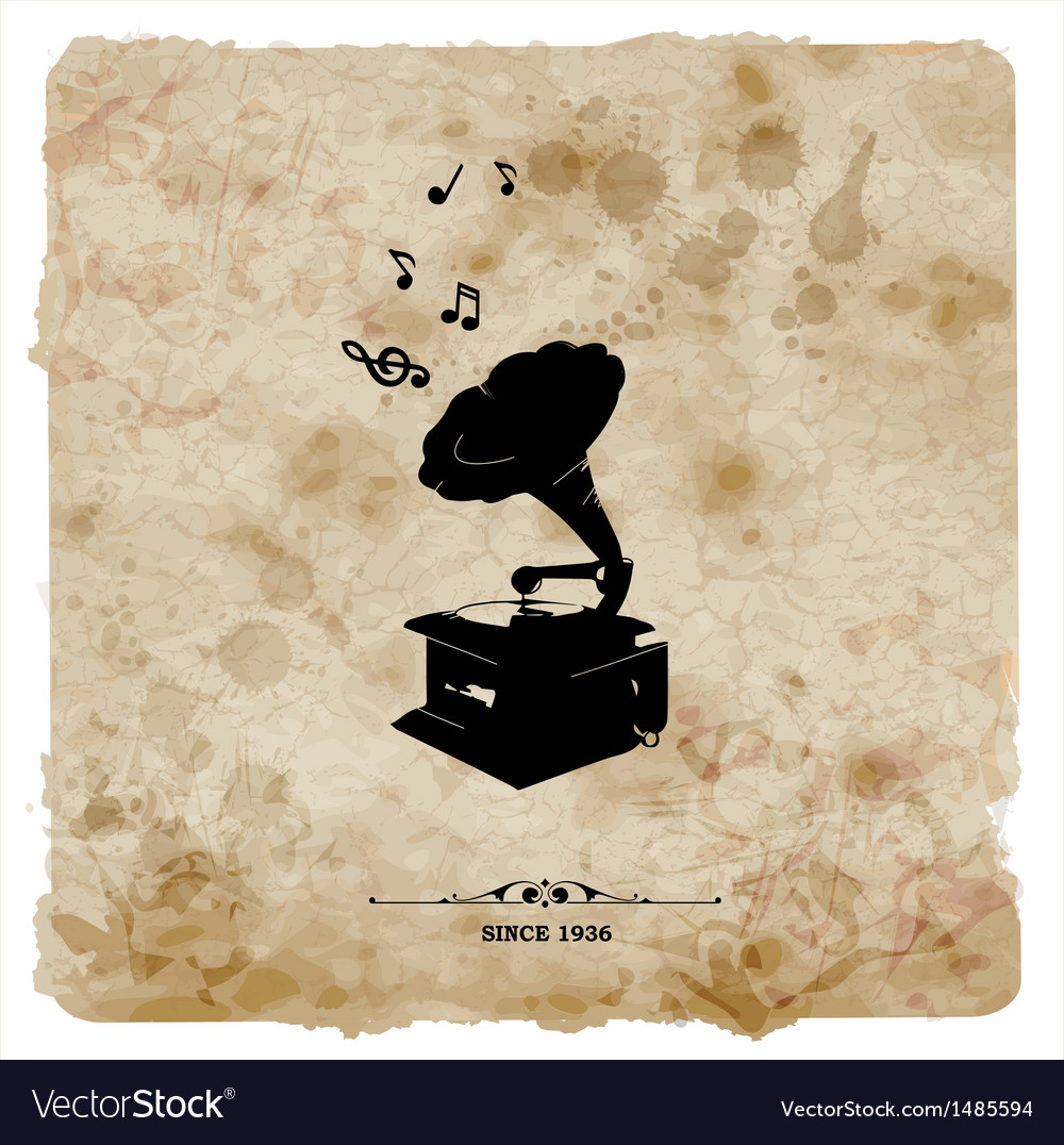 Vintage postcard retro turntable on grunge vector | Price: 1 Credit (USD $1)