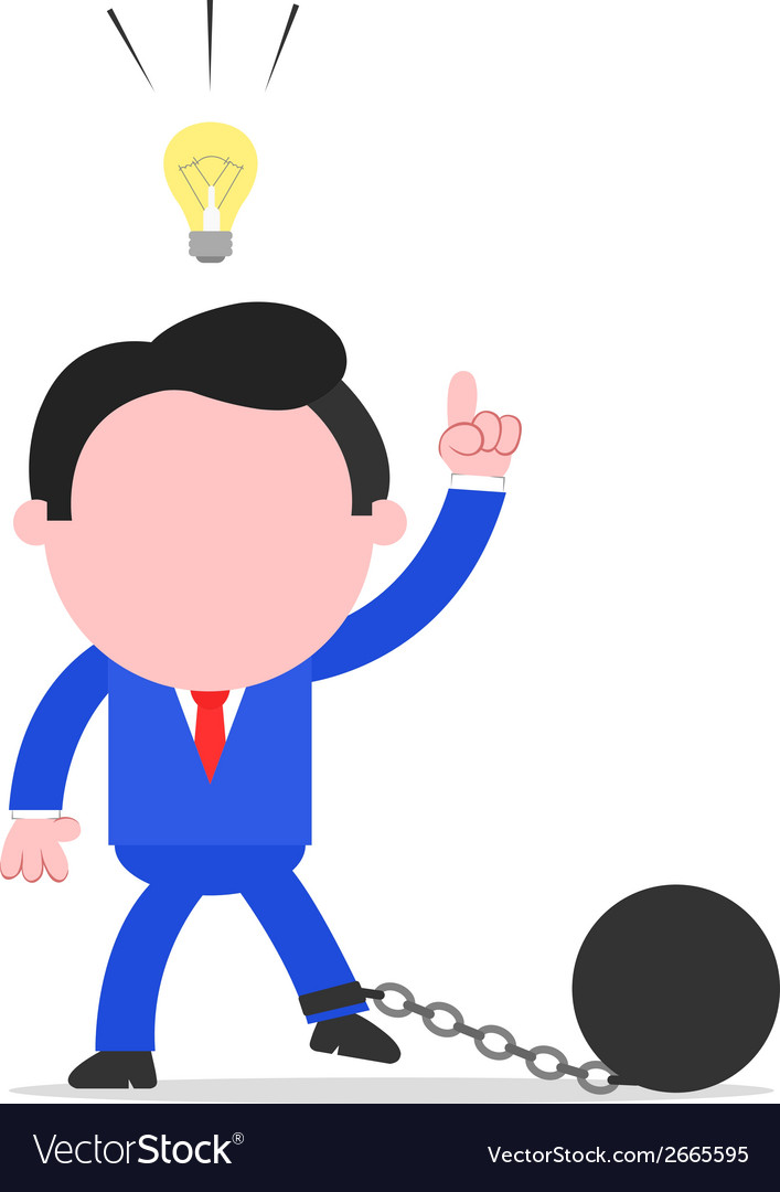 Businessman chained to ball with an idea vector | Price: 1 Credit (USD $1)