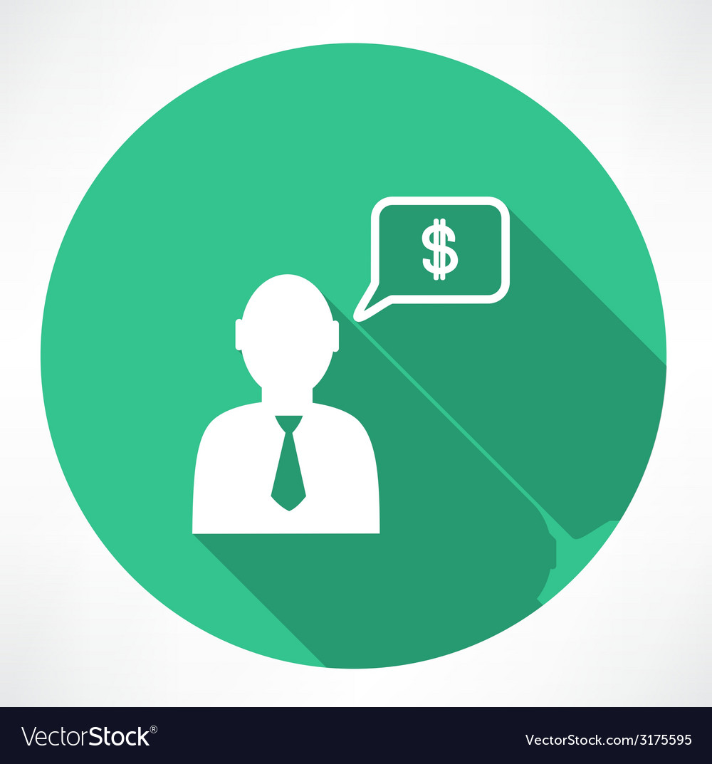 Businessman talk about money icon vector | Price: 1 Credit (USD $1)