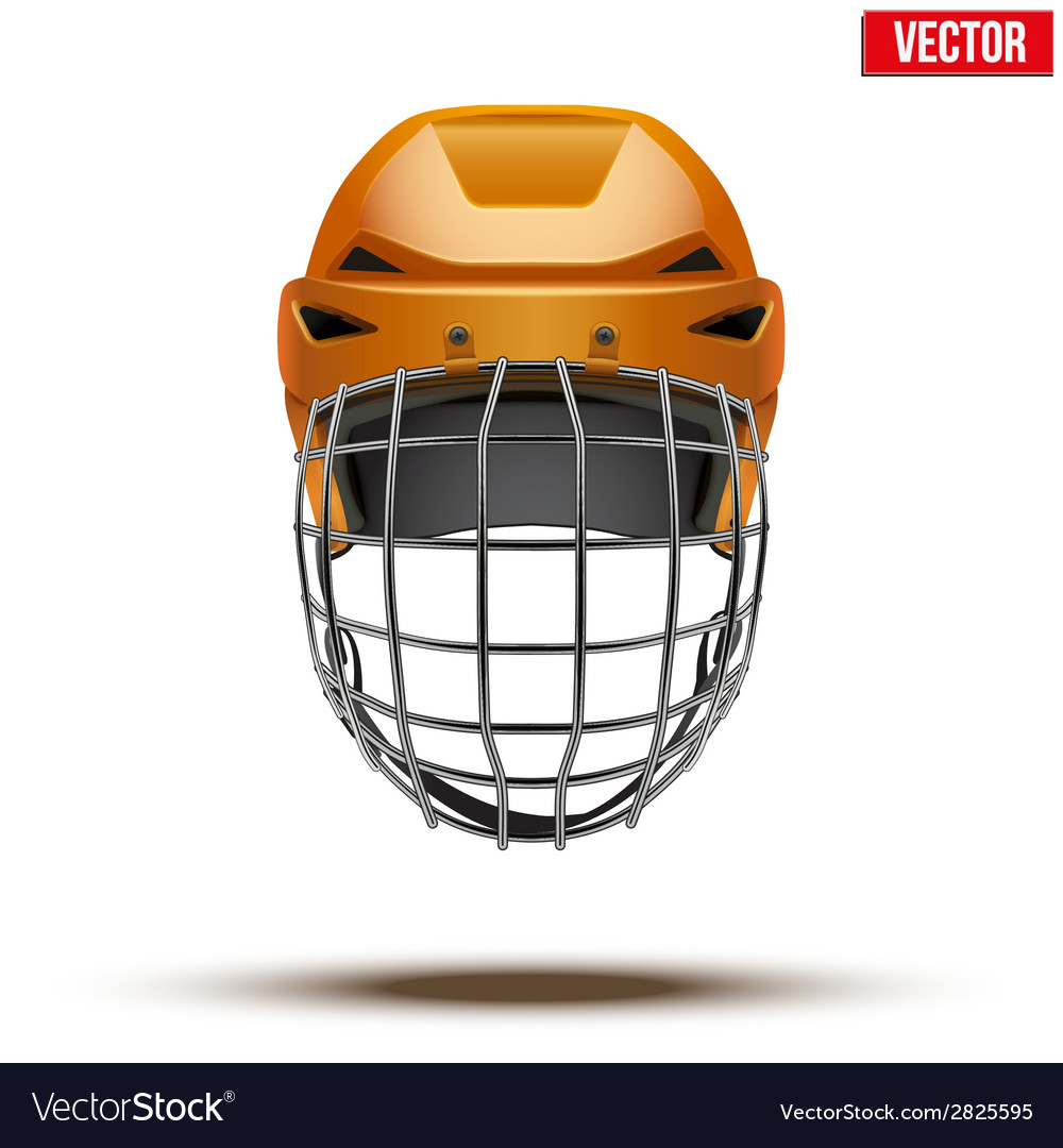 Classic orange goalkeeper ice hockey helmet vector | Price: 1 Credit (USD $1)