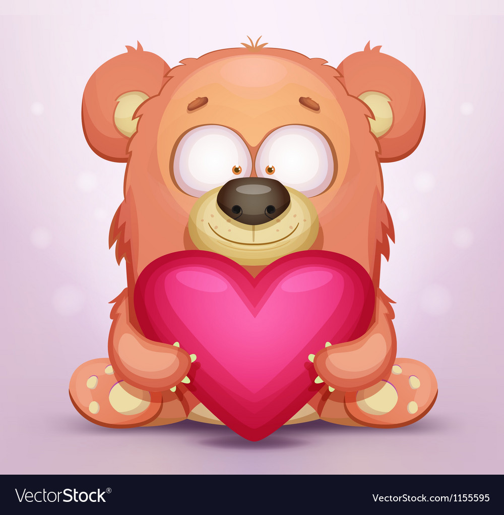 Cute teddy bear with heart vector