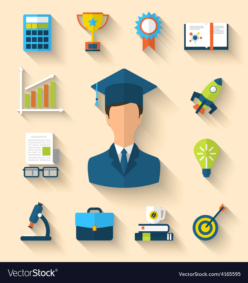 Flat icons of magister and objects for high school vector | Price: 1 Credit (USD $1)