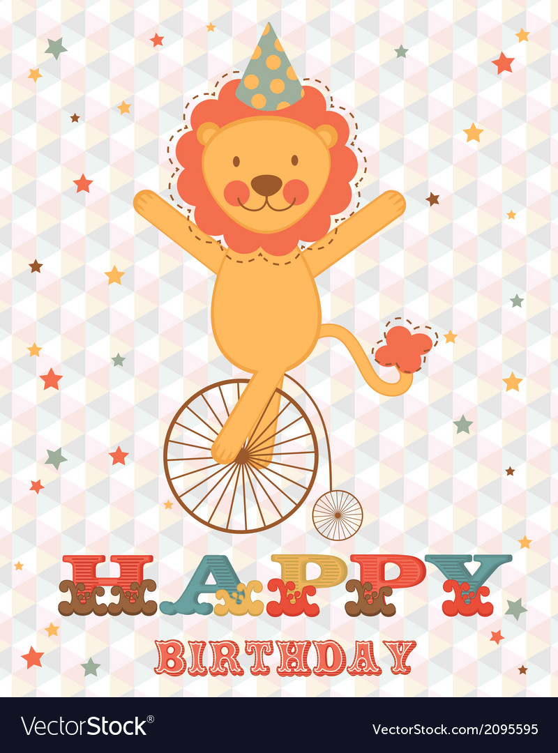 Happy birthday card with happy lion vector | Price: 1 Credit (USD $1)
