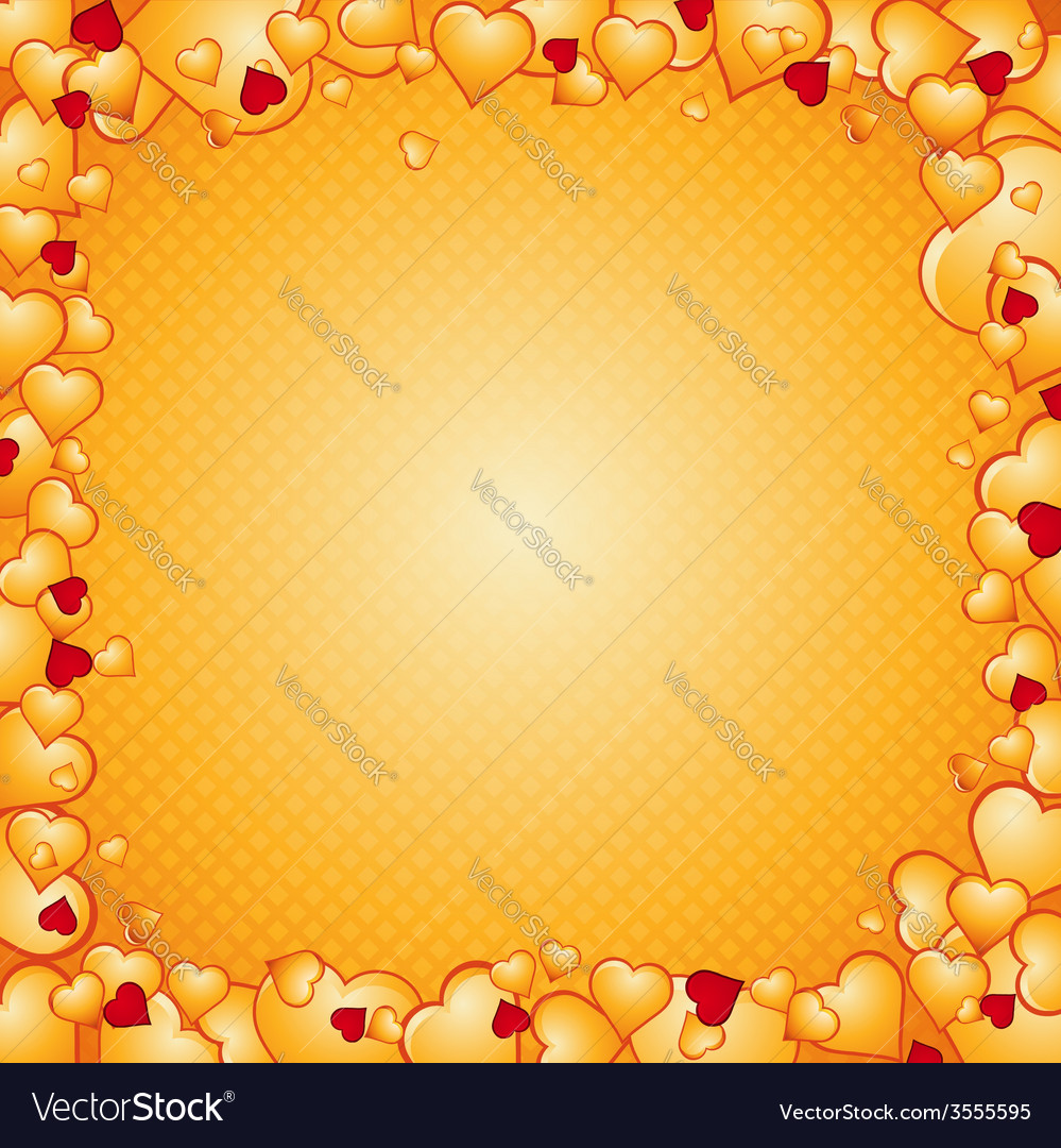 Lovely golden background of hearts vector | Price: 1 Credit (USD $1)