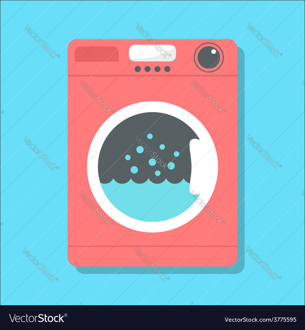Red washing machine in flat style vector | Price: 1 Credit (USD $1)