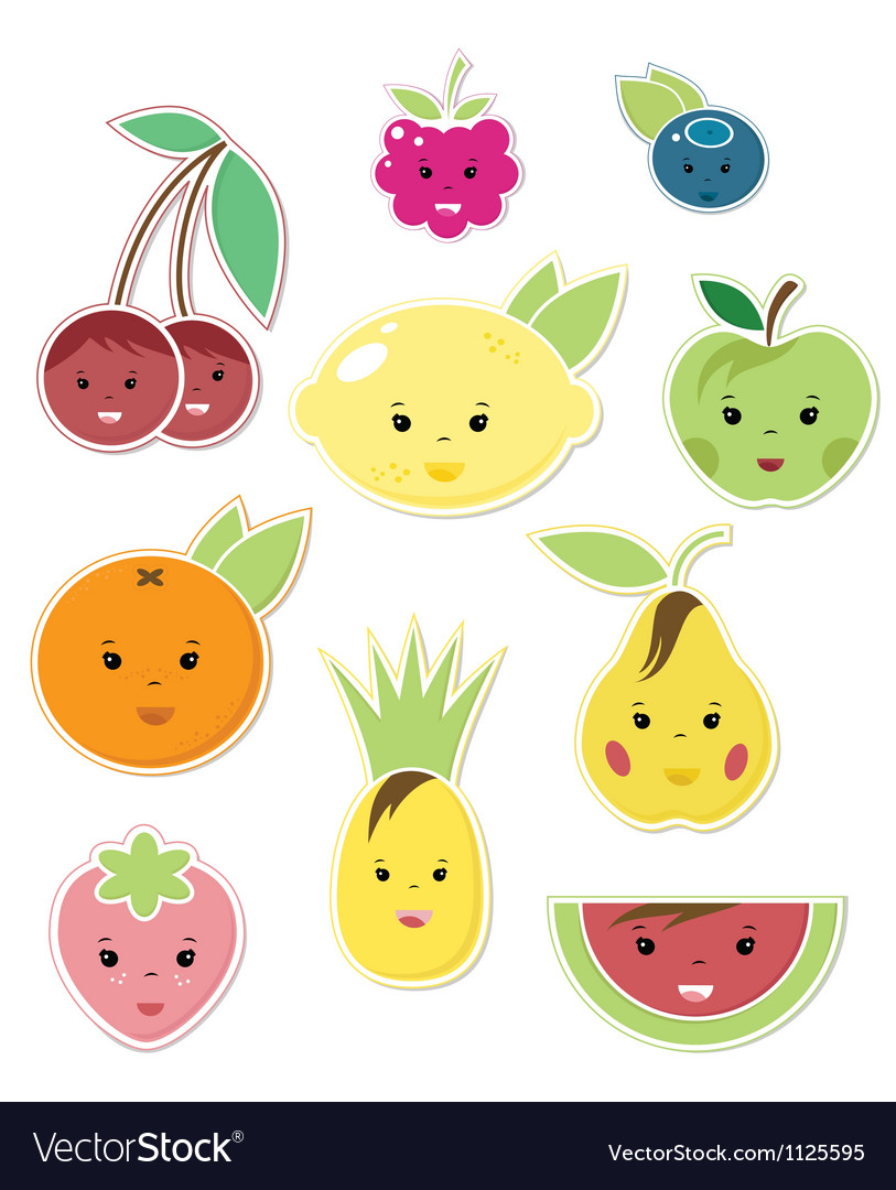 Smiley faces fruit icons vector | Price: 1 Credit (USD $1)