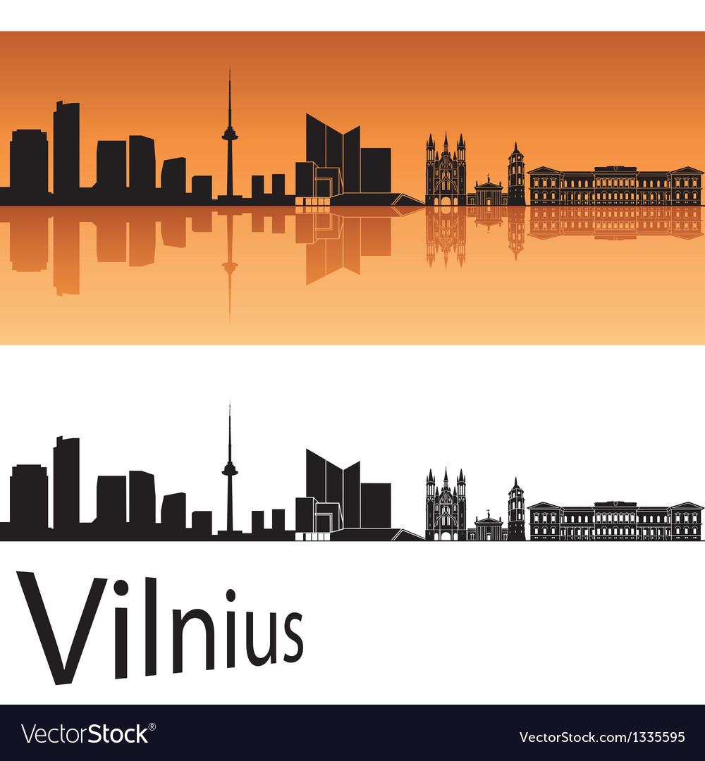 Vilnius skyline in orange background vector | Price: 1 Credit (USD $1)