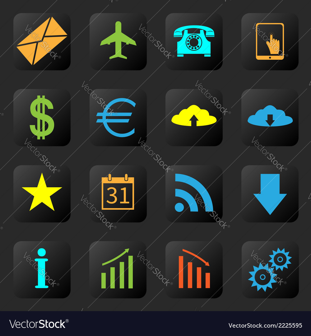 Web icons on the black background vector | Price: 1 Credit (USD $1)