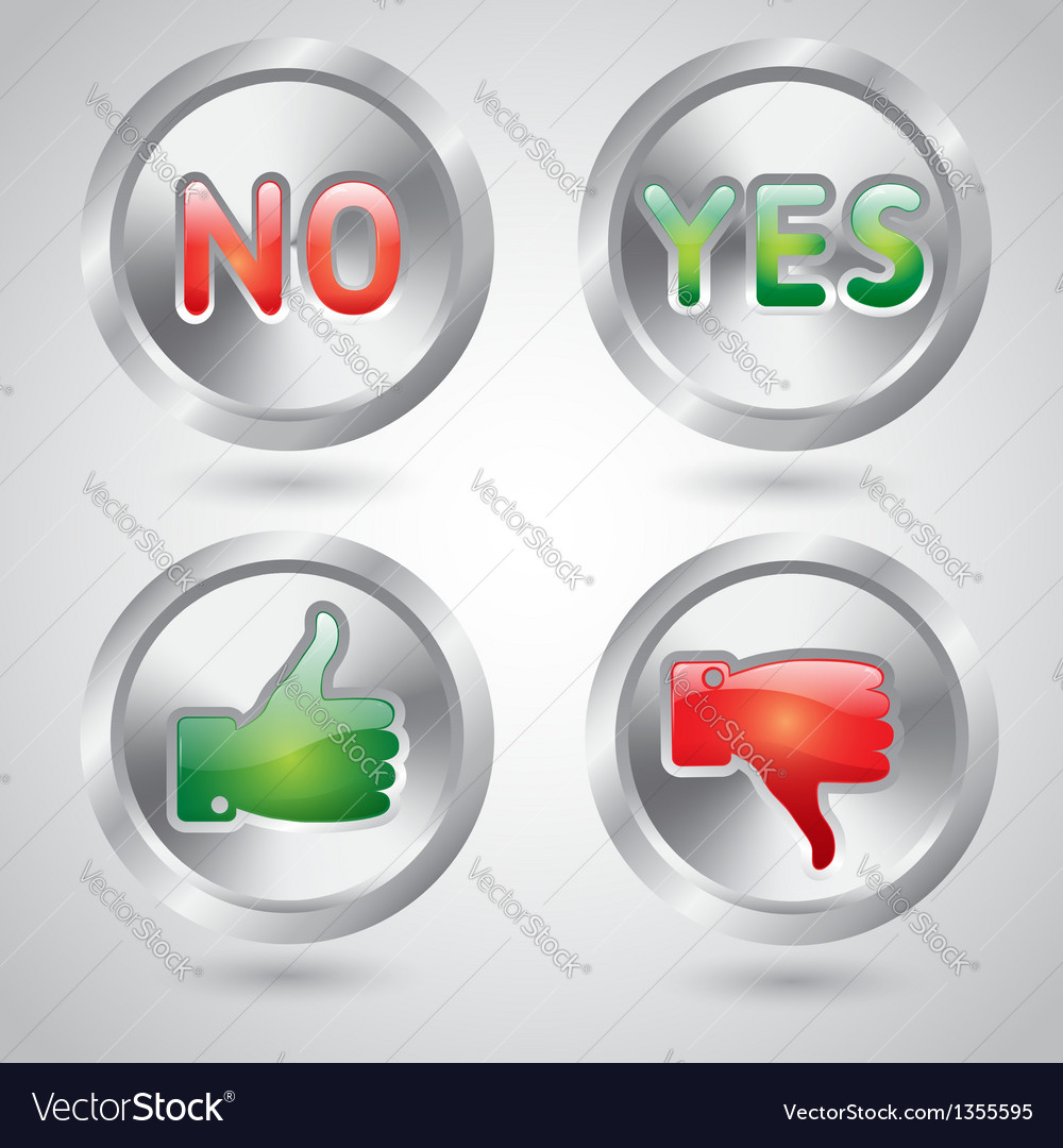 Yes and no thumbs up and down web buttons vector | Price: 1 Credit (USD $1)