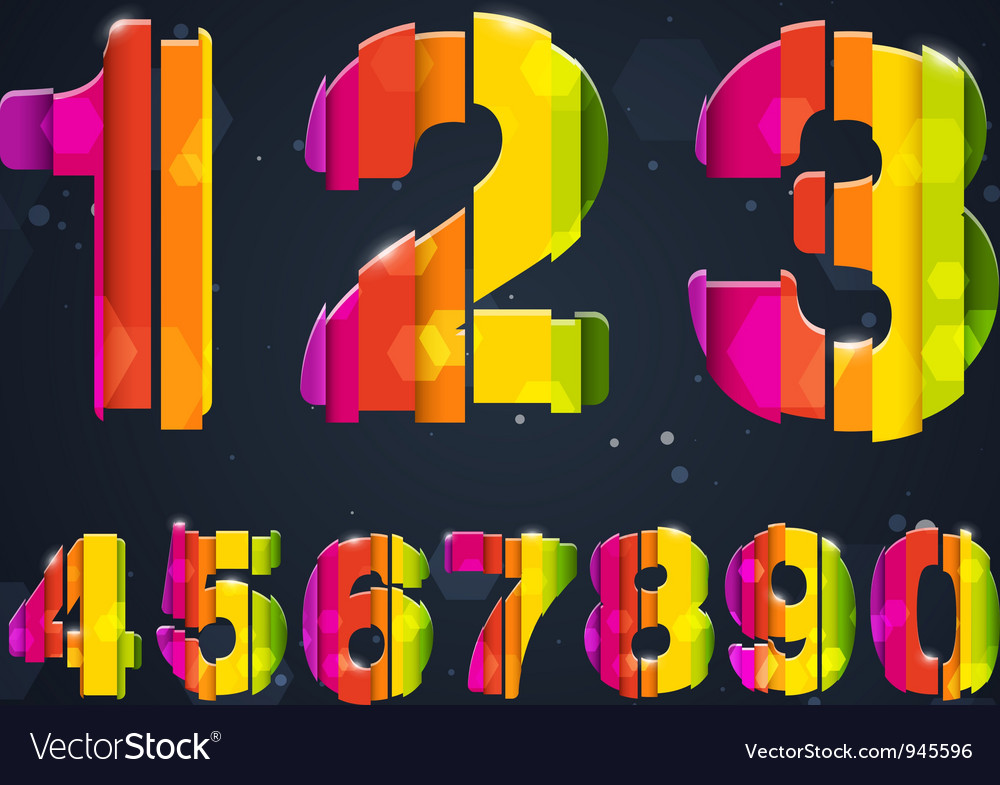 Abstract rainbow numbers vector | Price: 3 Credit (USD $3)