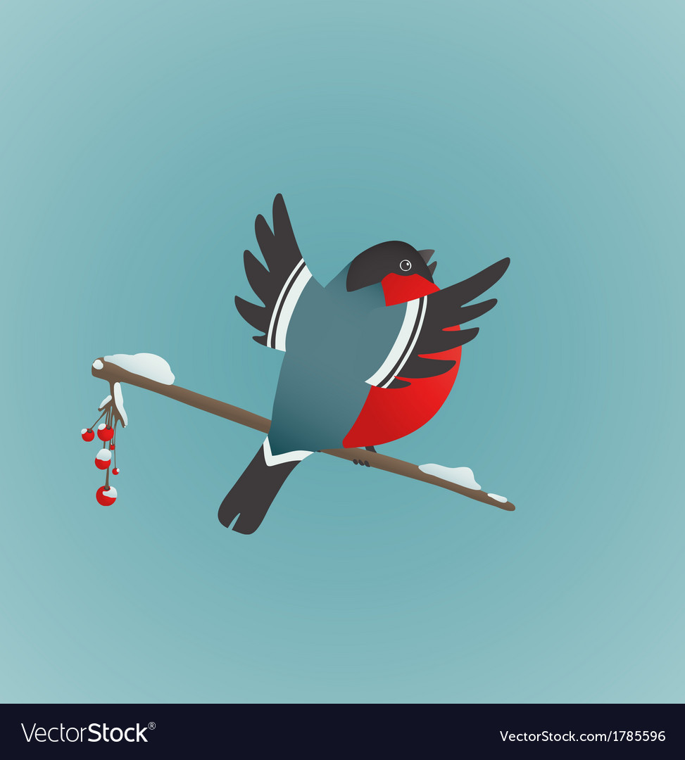 Bullfinch sitting on ashberry twig singing vector   Price: 1 Credit (USD $1)