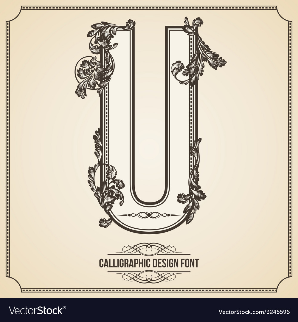 Calligraphic font letter u vector | Price: 1 Credit (USD $1)
