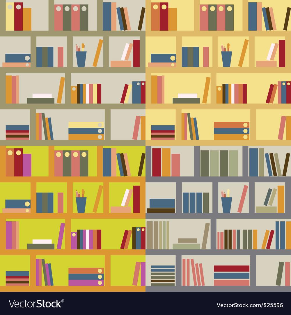 Four seamless bookshelf vector | Price: 1 Credit (USD $1)