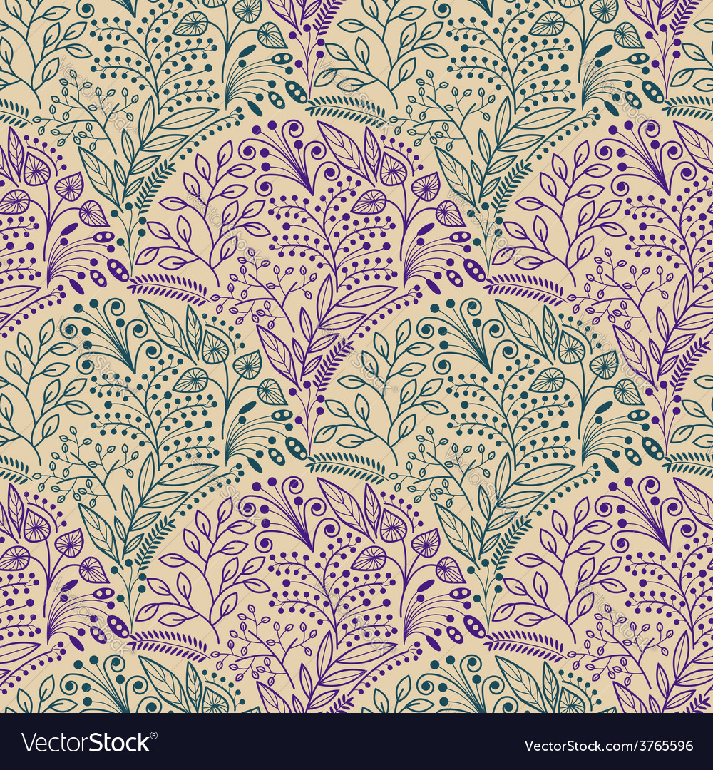Green and purple floral seamless pattern vector | Price: 1 Credit (USD $1)