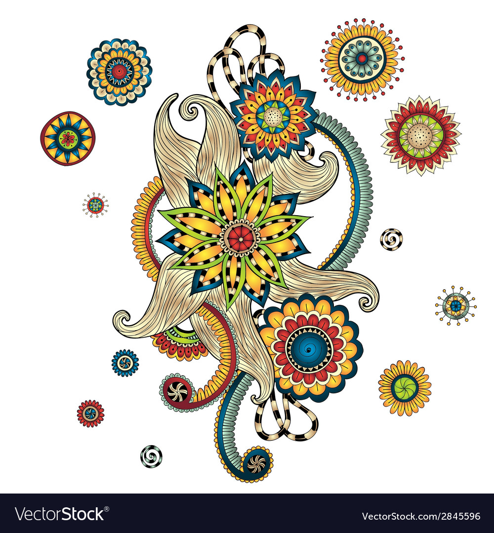 Henna paisley mehndi doodles design element vector | Price: 1 Credit (USD $1)