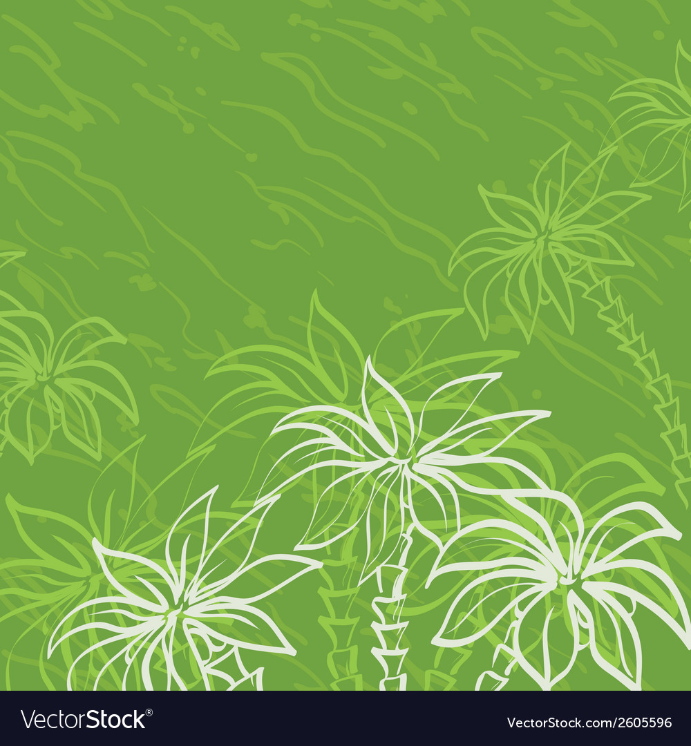 Palm trees contours on green background vector | Price: 1 Credit (USD $1)