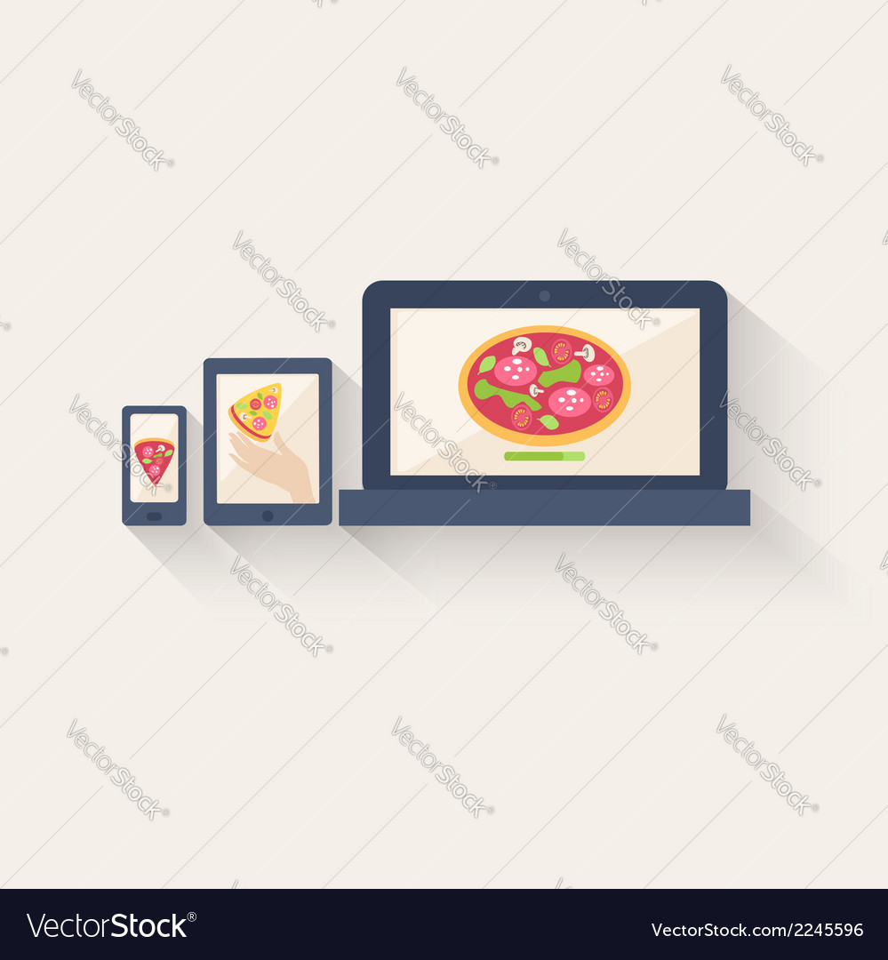 Three different pizza icons displayed online vector | Price: 1 Credit (USD $1)