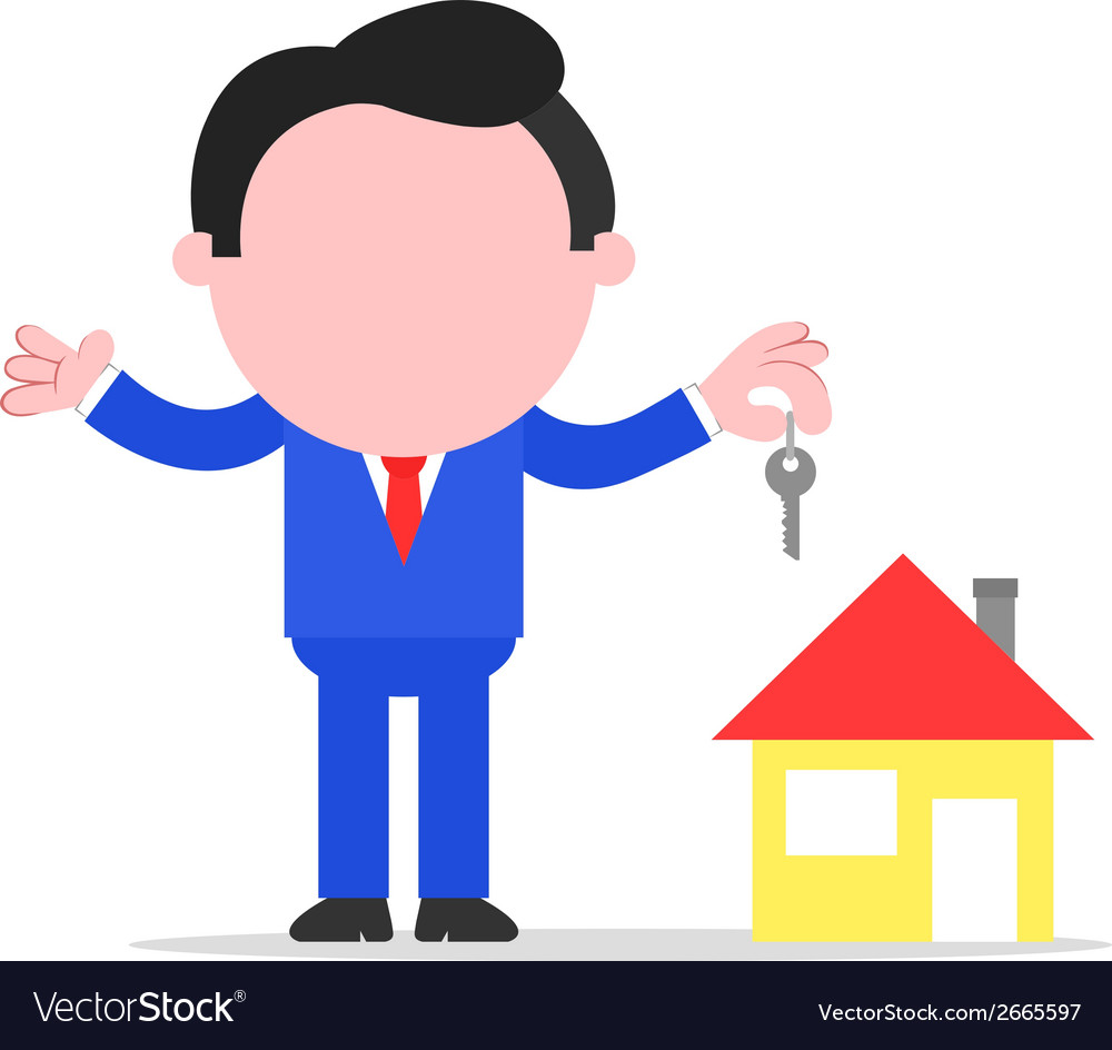 Businessman or realtor holding key to house vector | Price: 1 Credit (USD $1)