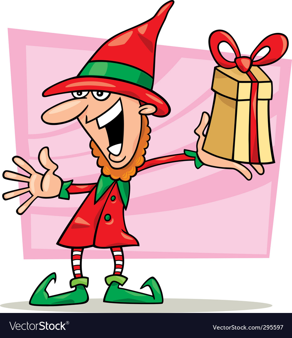 Christmas elf with special gift vector | Price: 3 Credit (USD $3)