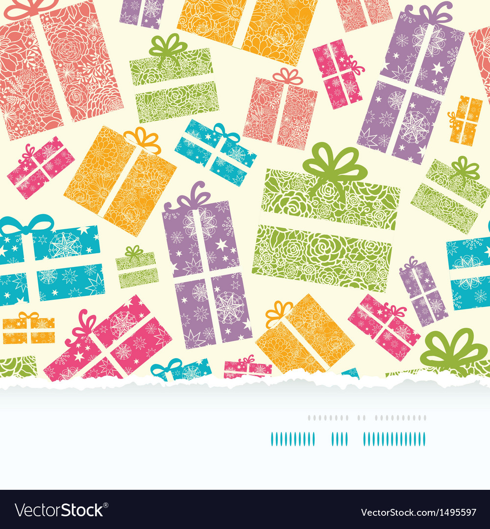 Colorful textured gift boxes horizontal torn vector | Price: 1 Credit (USD $1)