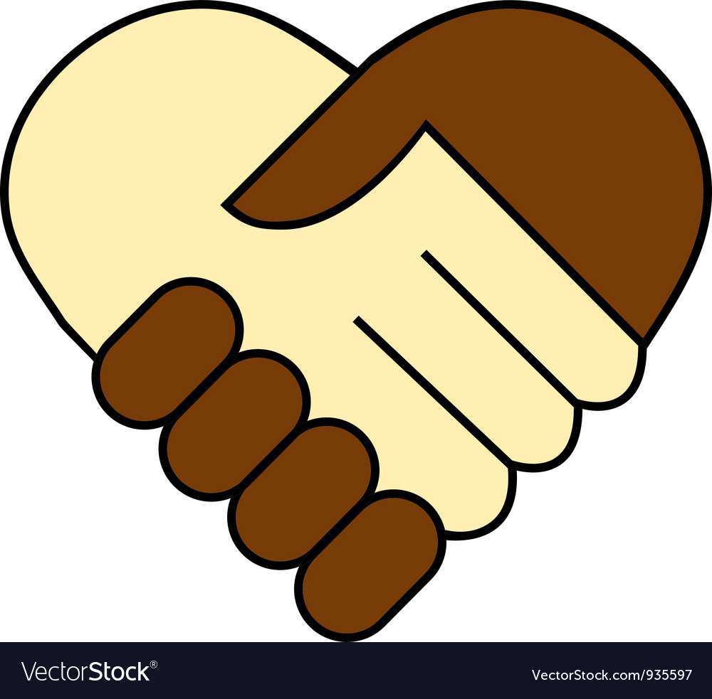 Hand shake between black and white man vector | Price: 1 Credit (USD $1)