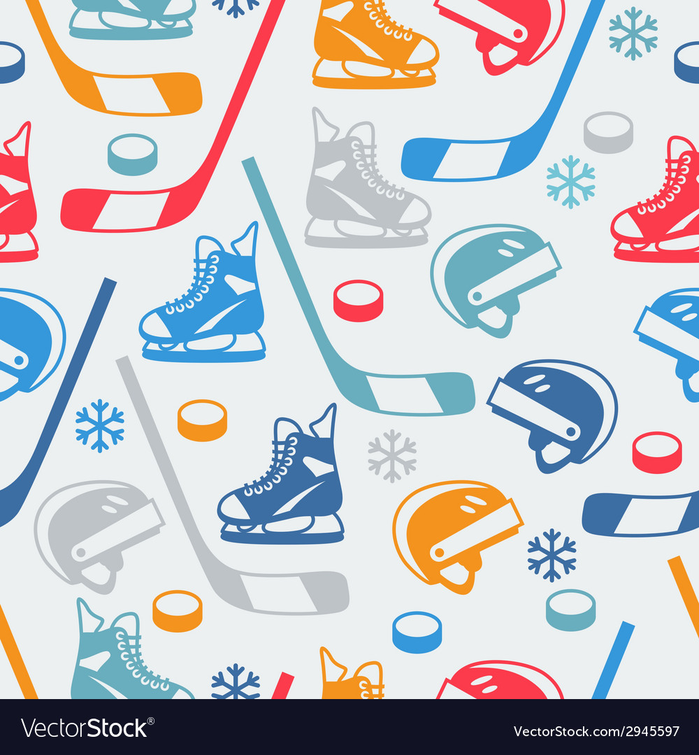 Sports seamless pattern with hockey equipment flat vector | Price: 1 Credit (USD $1)
