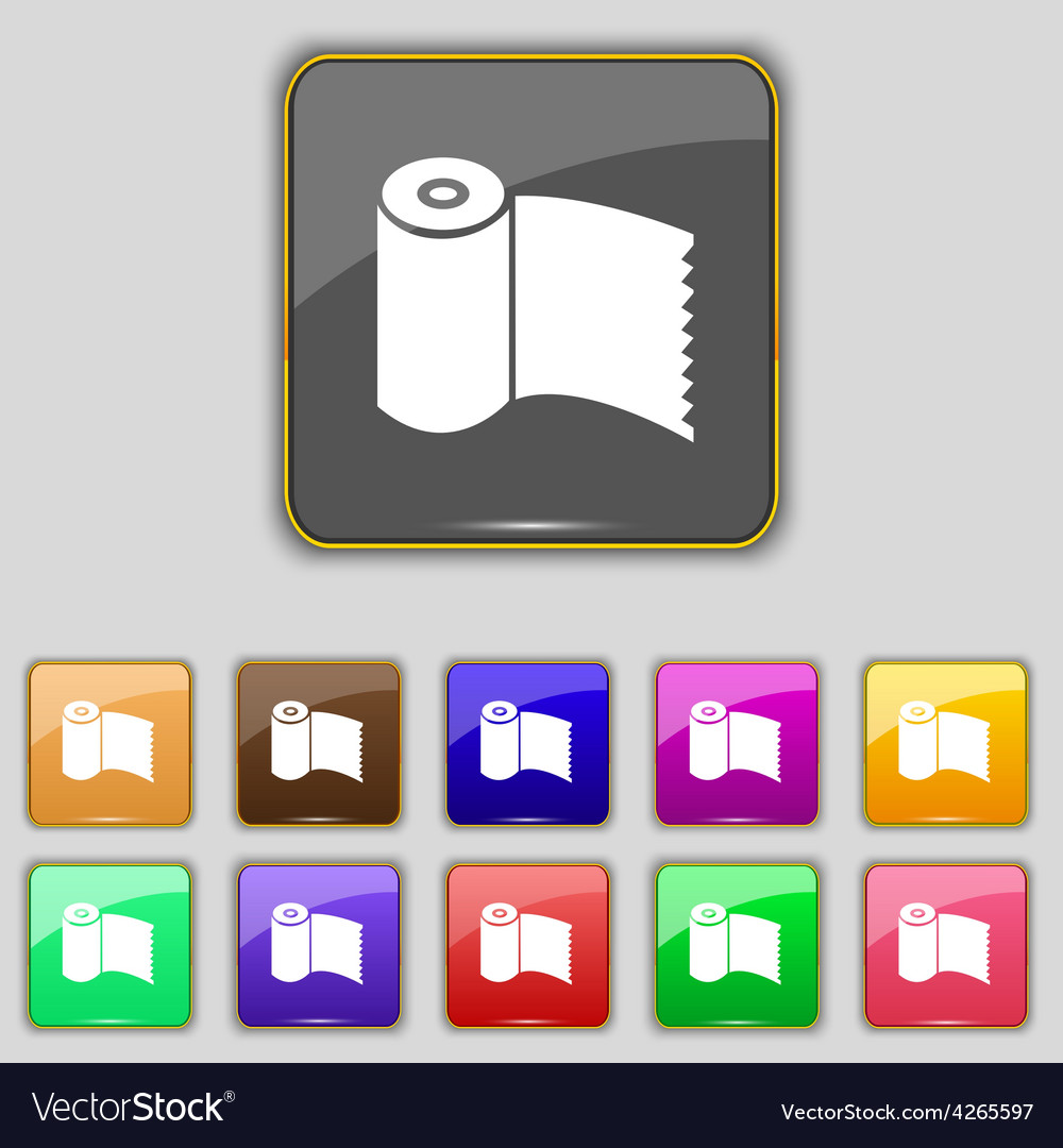 Toilet paper wc roll icon sign set with eleven vector | Price: 1 Credit (USD $1)