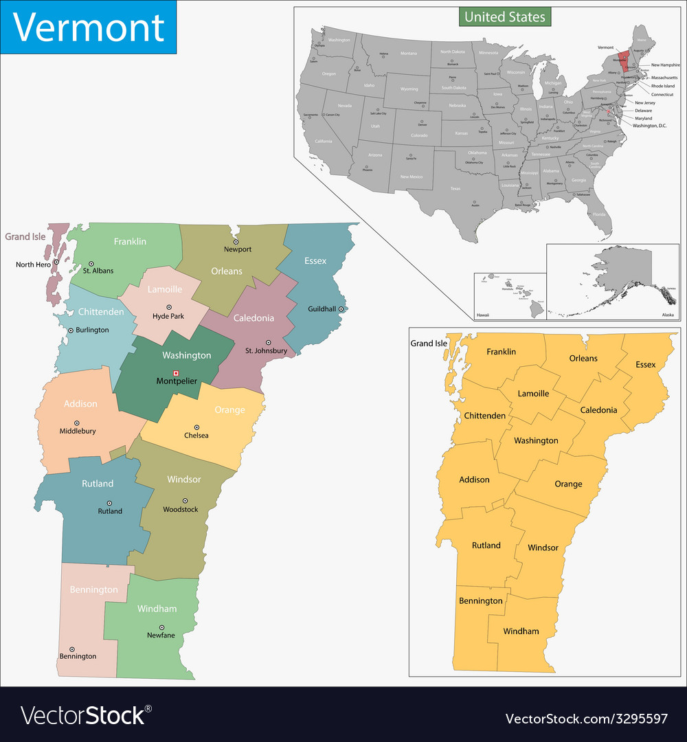 Vermont map vector | Price: 1 Credit (USD $1)