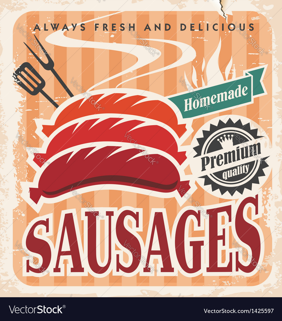Vintage sausages poster vector | Price: 1 Credit (USD $1)