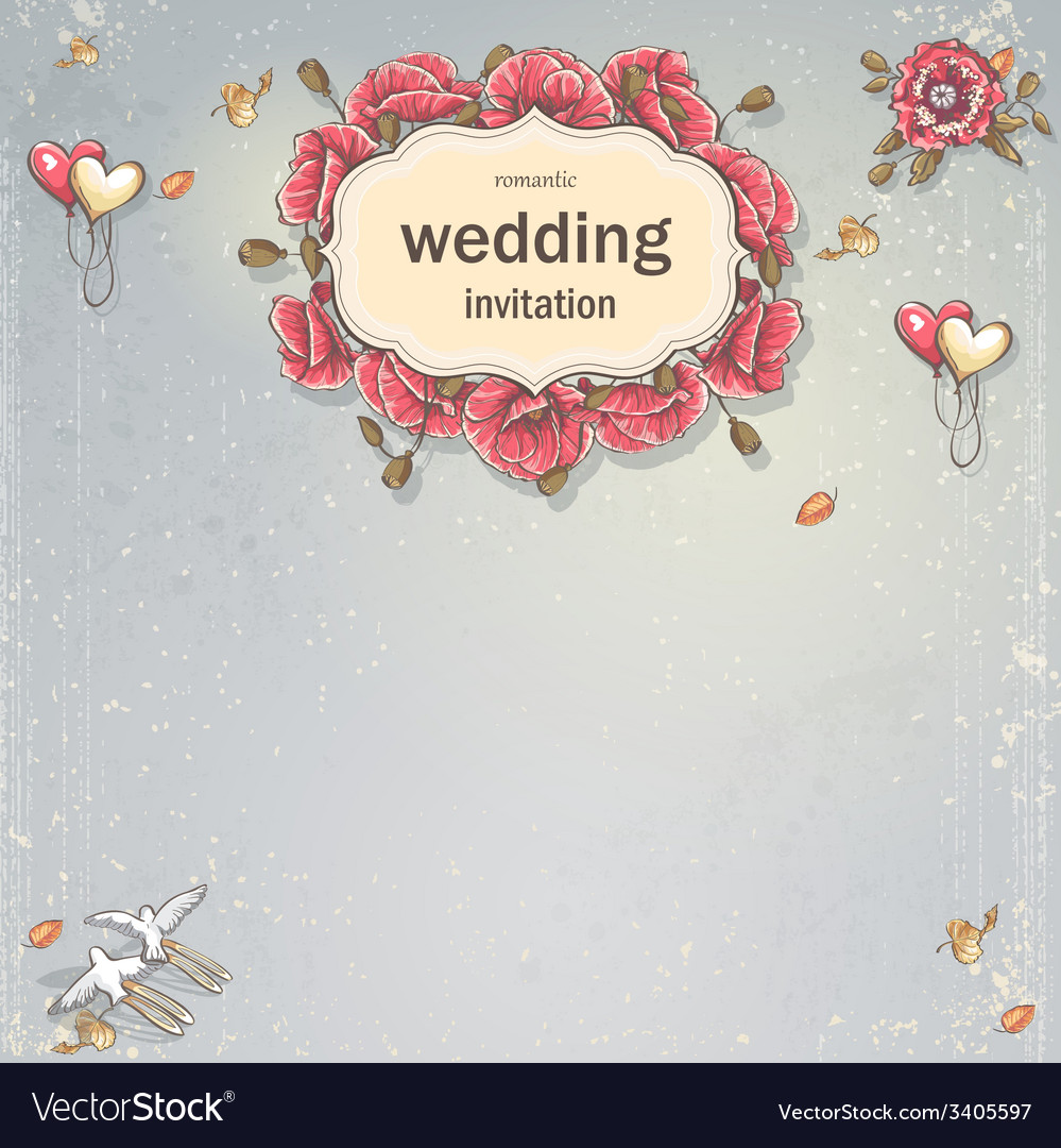 Wedding invitation card for your text on a gray vector | Price: 1 Credit (USD $1)