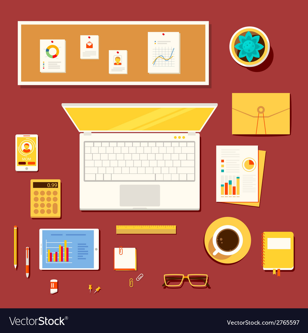 Workplace of accountant economist office worke vector | Price: 1 Credit (USD $1)