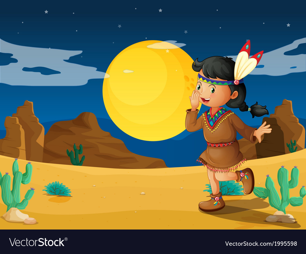 A desert with a young indian vector | Price: 1 Credit (USD $1)