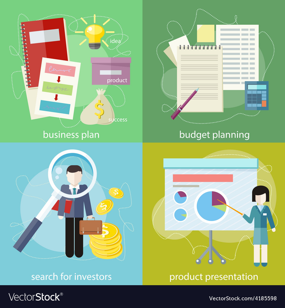 Business plan budget planning search investors vector | Price: 1 Credit (USD $1)