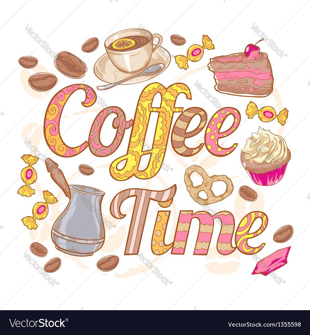 Coffee time colorful invitation card vector | Price: 1 Credit (USD $1)