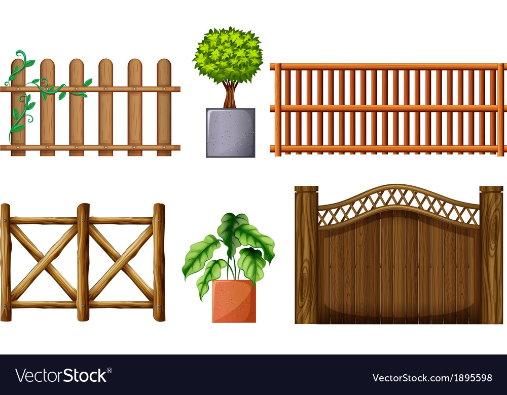 Different design of wooden fences vector | Price: 1 Credit (USD $1)