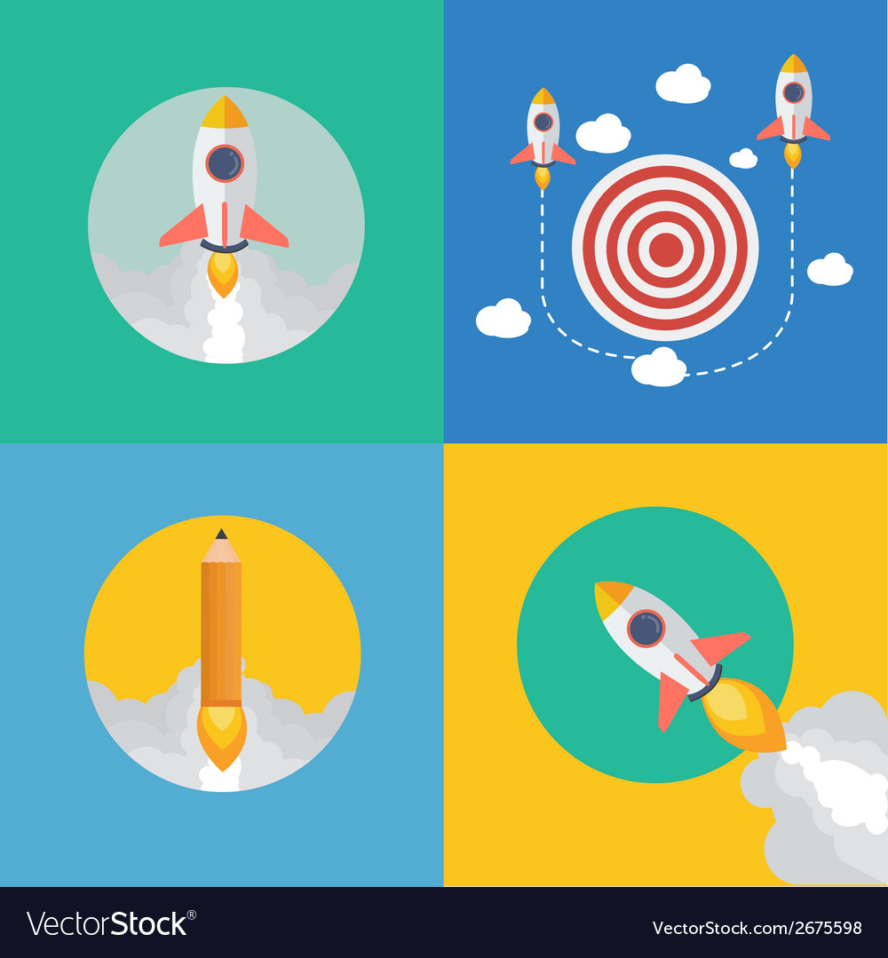 Element of rocket start up concept icon in flat vector | Price: 1 Credit (USD $1)