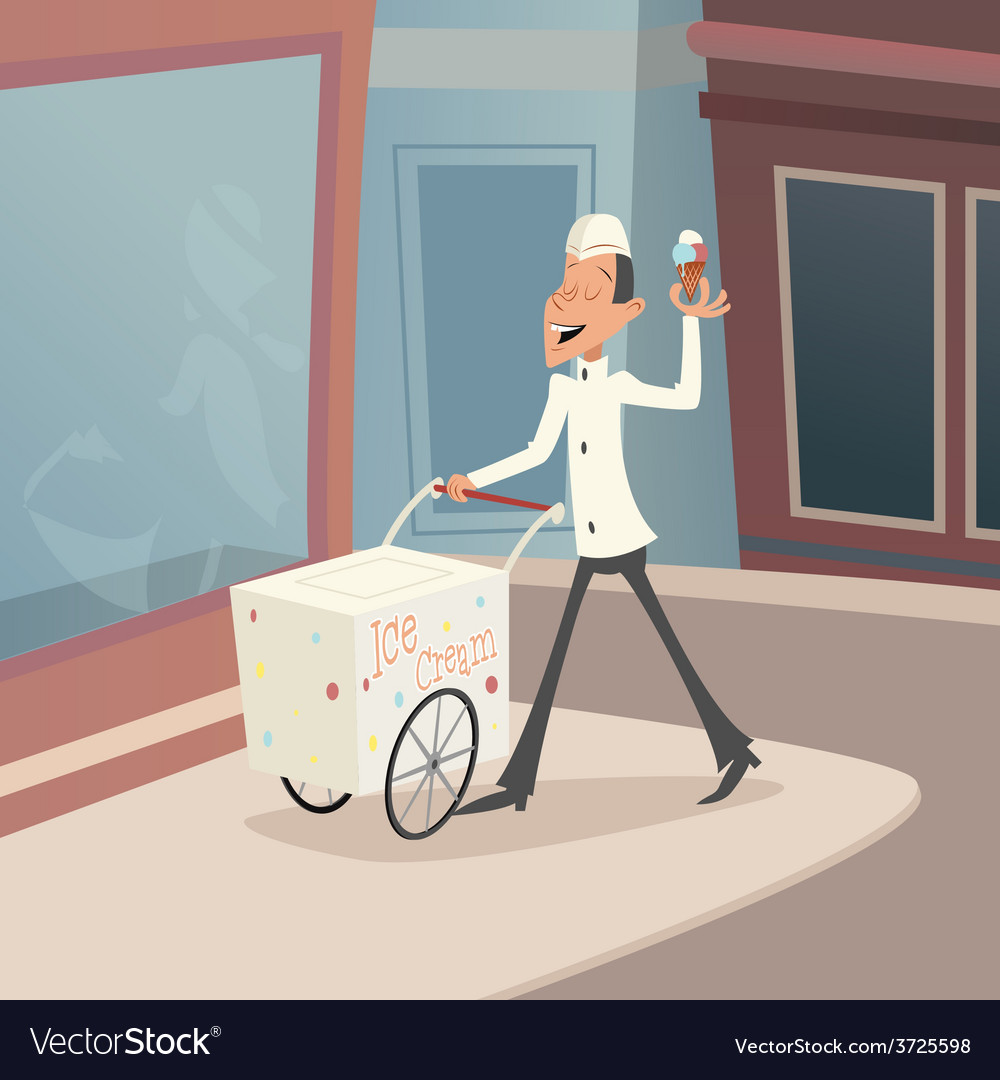 Happy smiling ice cream seller with cart on street vector | Price: 1 Credit (USD $1)