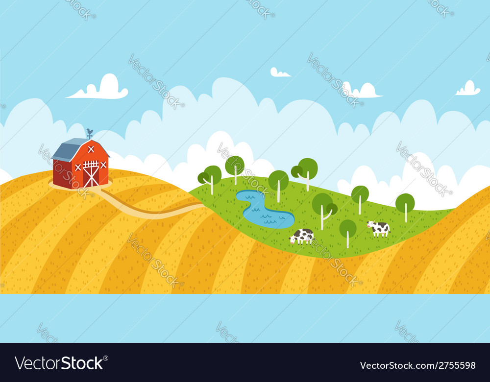Seamless rural landscape vector | Price: 1 Credit (USD $1)