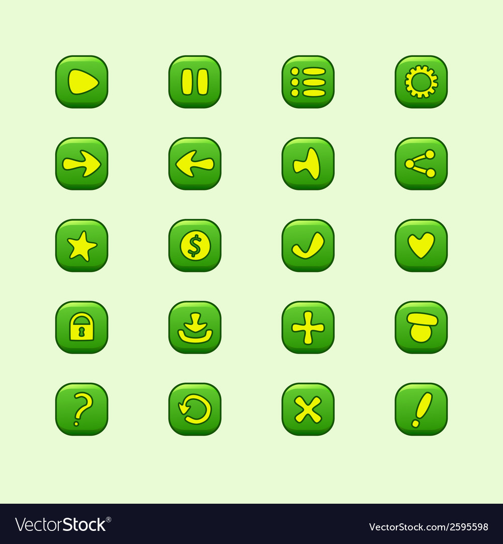 Set of mobile green elements for ui game design vector   Price: 1 Credit (USD $1)