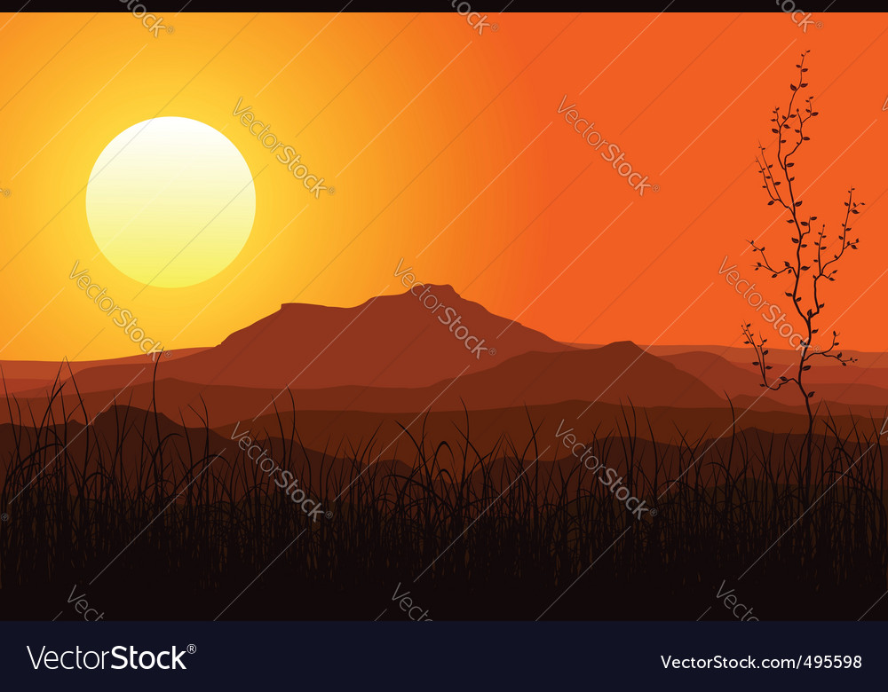 Sunset in mountains vector | Price: 1 Credit (USD $1)