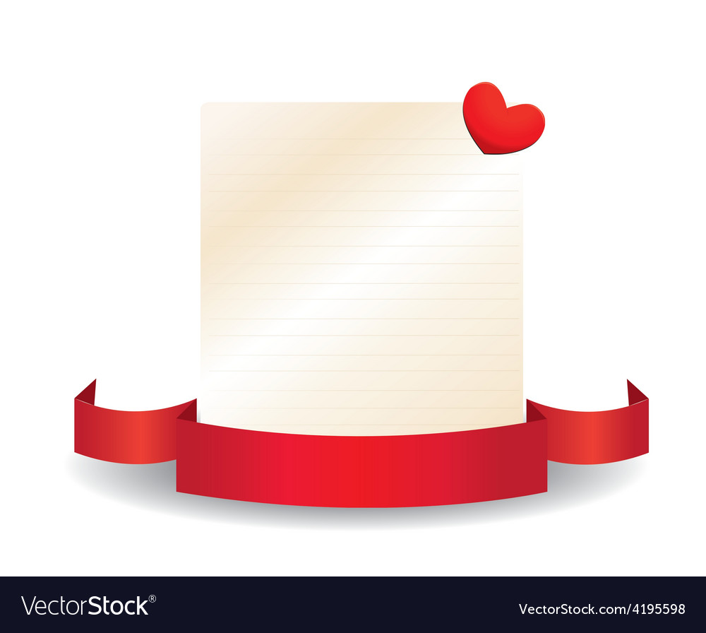 Valentine card with ribbon and label vector | Price: 1 Credit (USD $1)