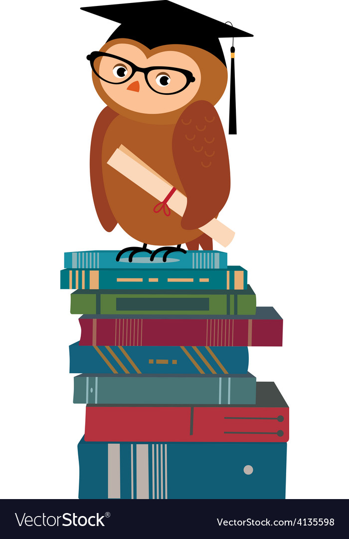 Wise owl and books vector | Price: 1 Credit (USD $1)