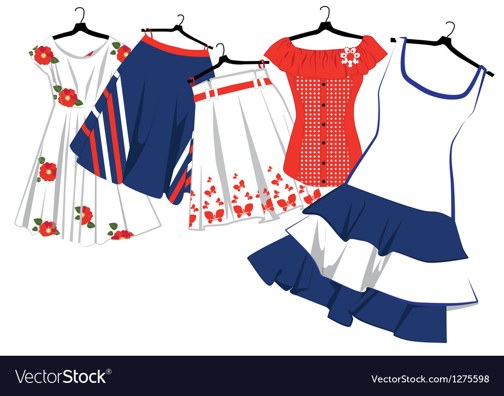 Womens clothes on hangers vector | Price: 1 Credit (USD $1)