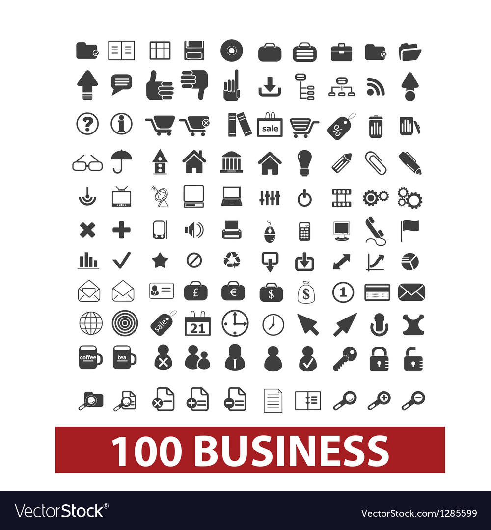 100 business and office icons signs set vector | Price: 1 Credit (USD $1)