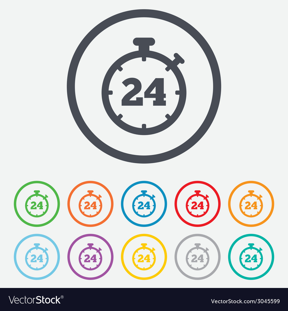 24 hours timer sign icon stopwatch symbol vector | Price: 1 Credit (USD $1)