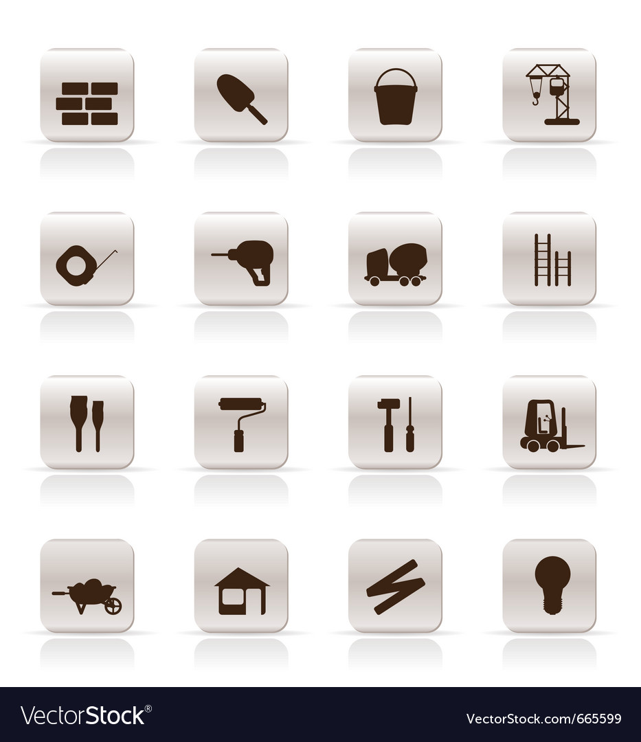 Construction and building icon set vector | Price: 1 Credit (USD $1)