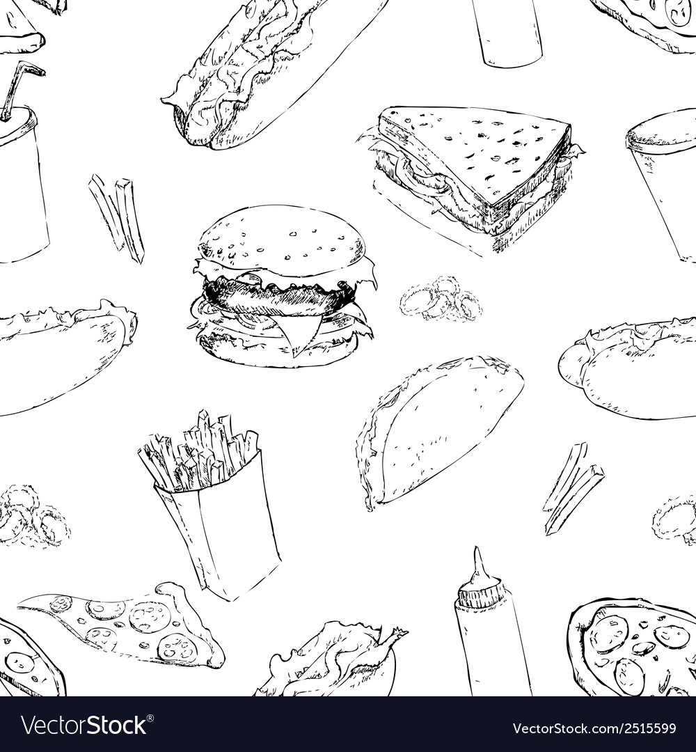 Fast food seamless background vector | Price: 1 Credit (USD $1)