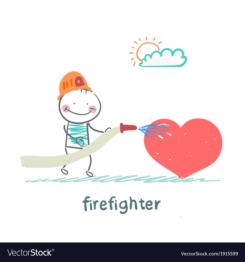 Firefighter extinguishes heart vector | Price: 1 Credit (USD $1)