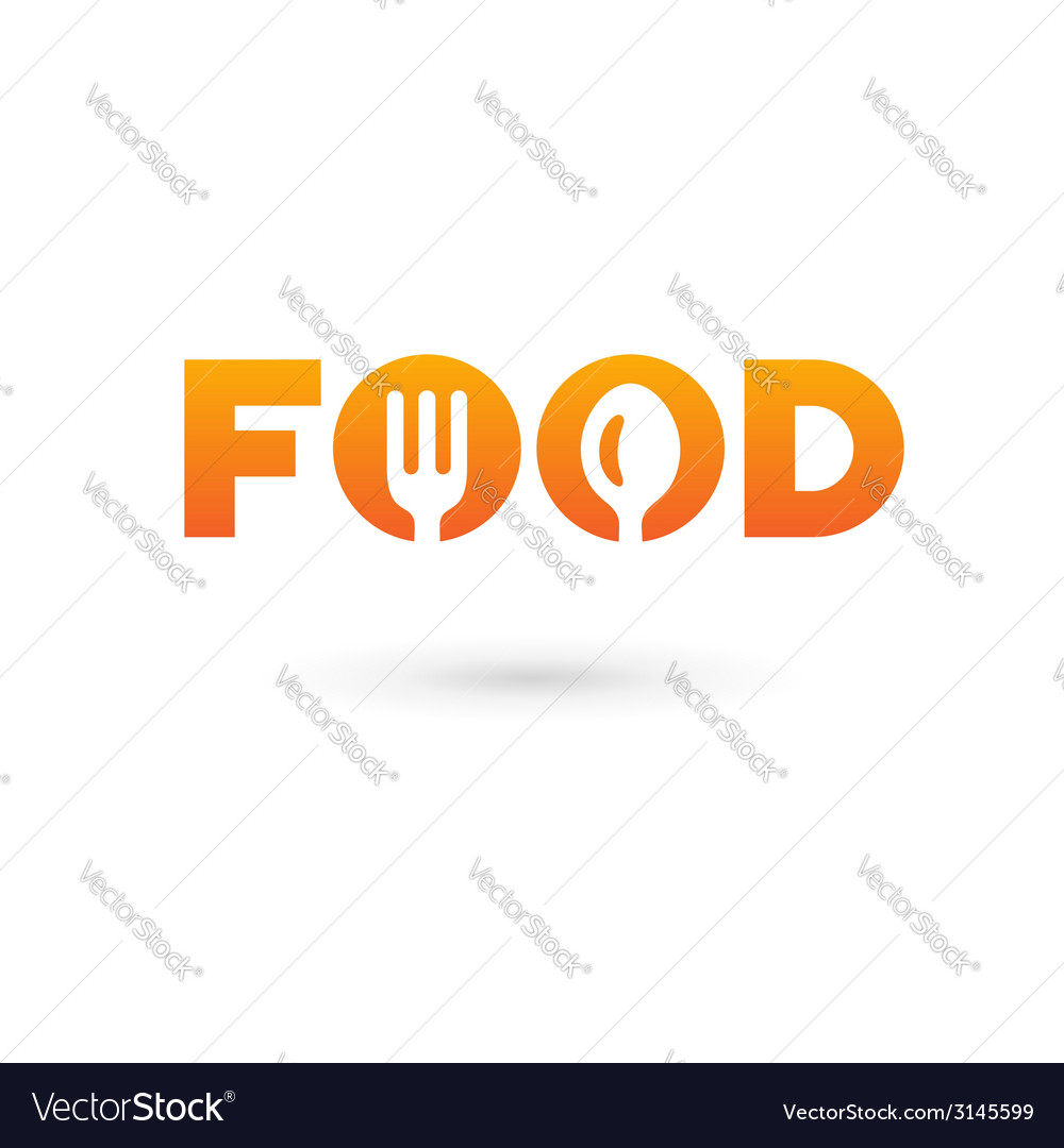 Food word sign logo icon design template elements vector | Price: 1 Credit (USD $1)